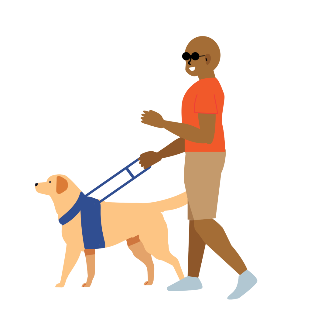 blind person with dog