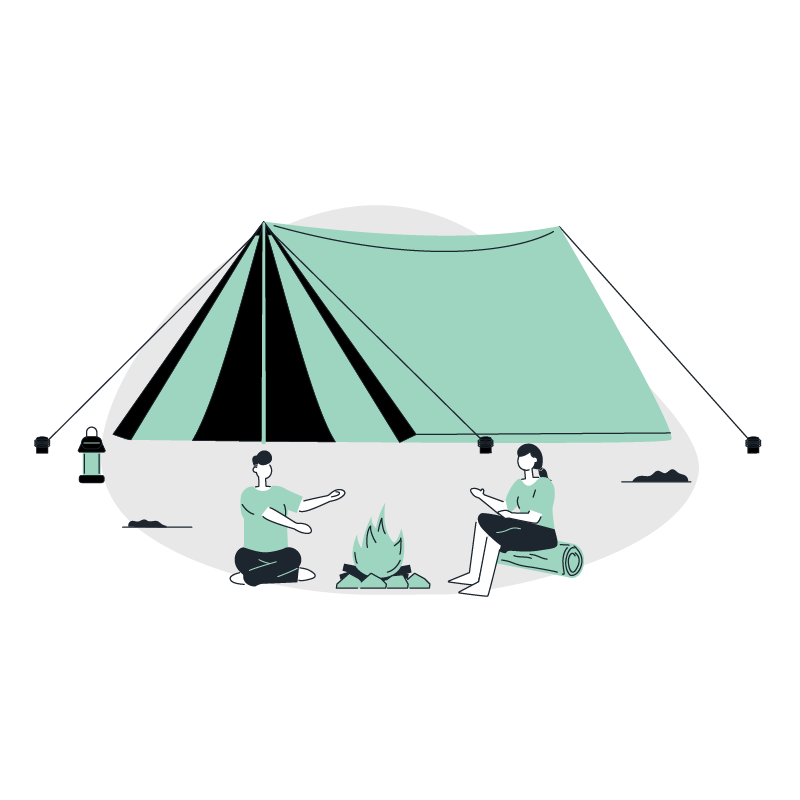 a man and woman sitting around a campfire in front of a tent