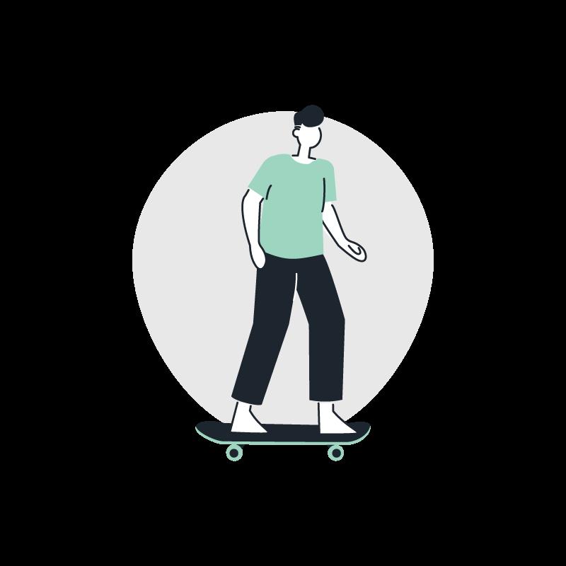 a person riding a skateboard