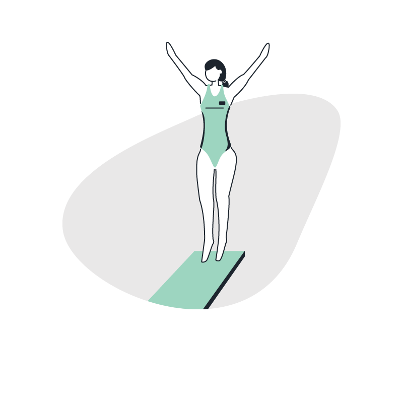 a woman on a diving board