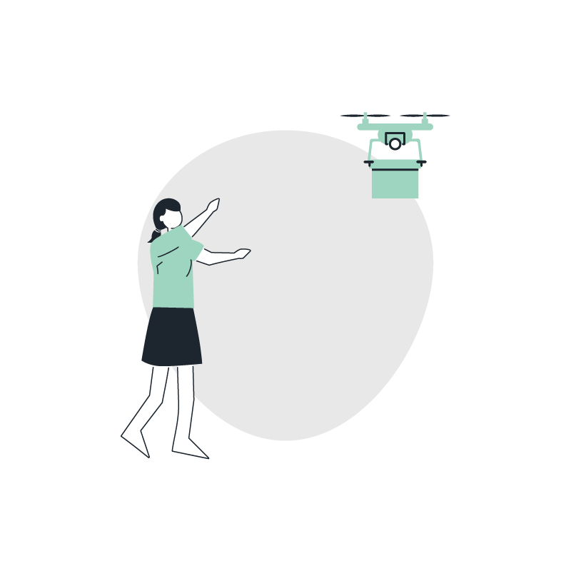 a drone delivering a package to a woman