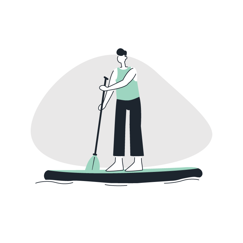 a man on a paddle board